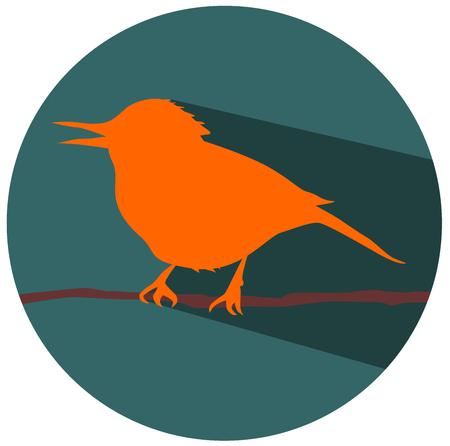 The bird on branch vector design Illustration