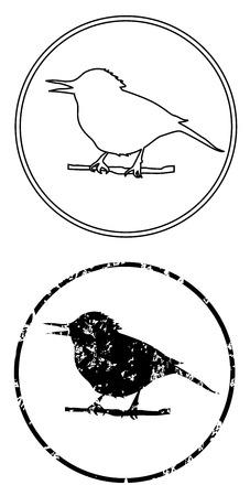 Black bird on branch vector icon