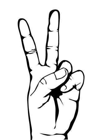 Main avec signe de victoire vecteur eps 10