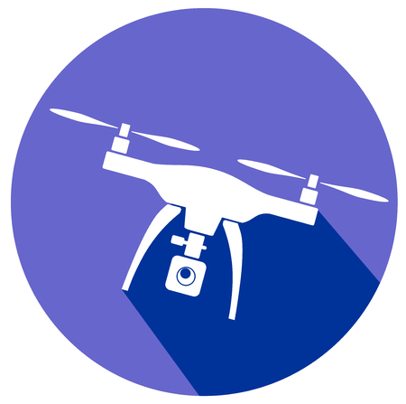 Rc drone quadcopter with camera flat icon design vector eps 10