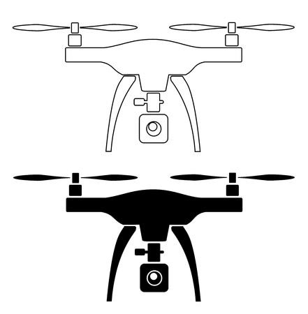 Rc drone quadcopter with camera black vector eps 10