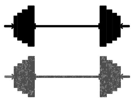 shiny black: Classic dumbbell black and grunge vector eps 10