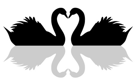 Floating swan love symbol vector eps 10.
