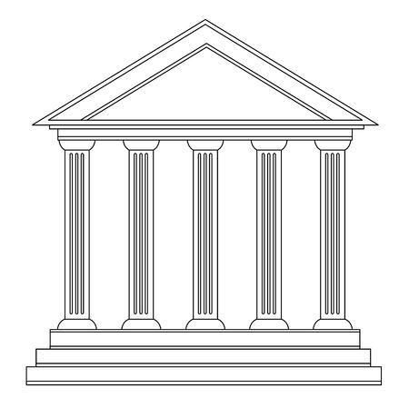 Columns of ancient greek historic bank building vector 10