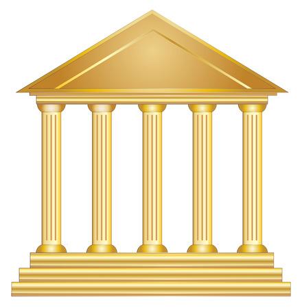 Colonnes antique bâtiment historique grec or vecteur eps 10 Illustration