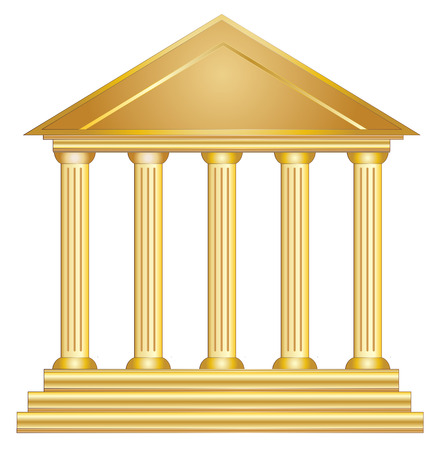 Columns ancient greek historic building gold vector eps 10