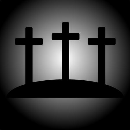 Simple calvary icon with three crosses vector EPS 10.