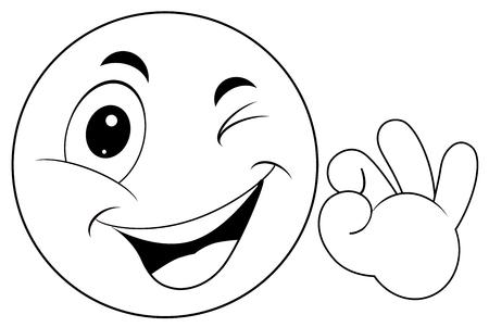 Émoticône Smiley avec signe ok vecteur eps 10