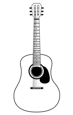 Estilo Plano Del Diseño De La Acción De La Guitarra Acústica Del ...