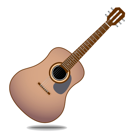 Stylized acoustic guitar icon vector eps 10