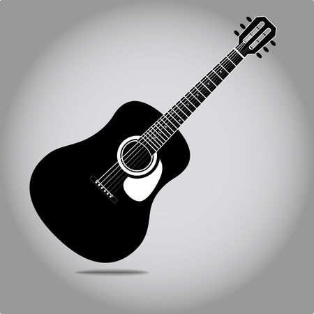 Icône de guitare acoustique stylisée vecteur eps 10 Illustration