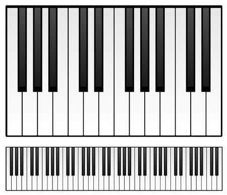 Clavier de piano isolé sur fond blanc. Illustration