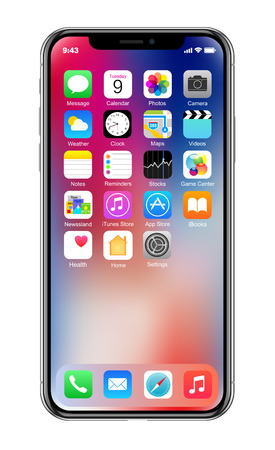 Brand new realistic mobile phone black smartphone in Apple iPhone X Éditoriale