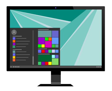 device: Modern computer monitor with icon on screen. Isolated on white vector eps 10