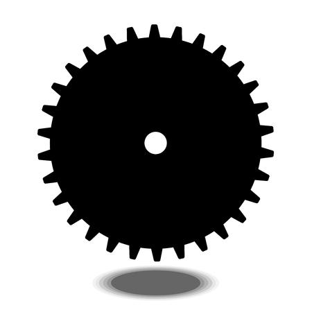 Black gear on white background vector. Illustration