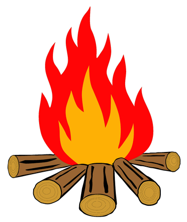 Bonfire on a white background vector.