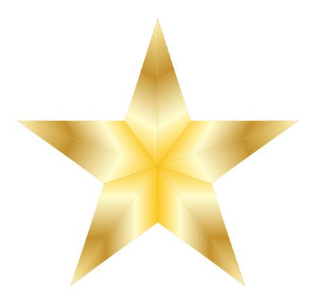 Golden star on white background Illustration