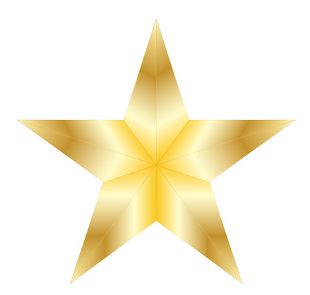 Golden star on white background Illustration