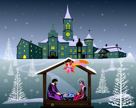 Nativity scene color illustration vector eps 10.