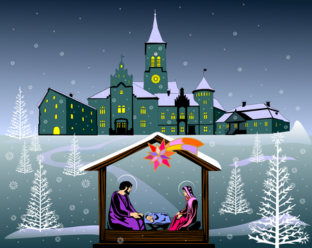 Nativity scene color illustration vector eps 10.
