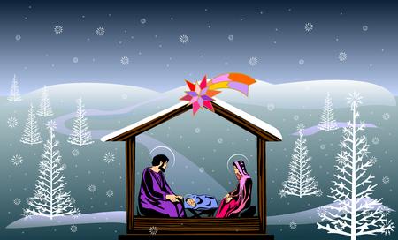 Nativity scene colored illustration.