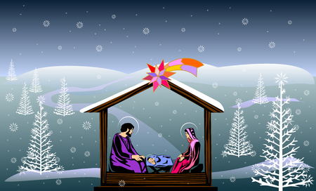 Nativity scene colored illustration.