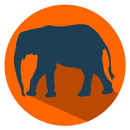Elephant flat design icon vector illustration.