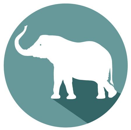 Éléphant design plat icône vecteur