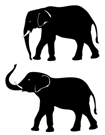 Two elephants with a trunk down and a trunk up vector eps 10