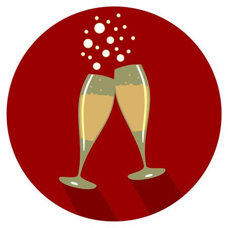 Deux verres de champagne design plat en baisse de dos rouge