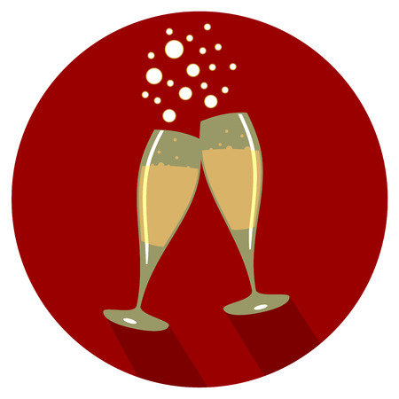 Two glasses of champagne flat design in red back drop Illustration