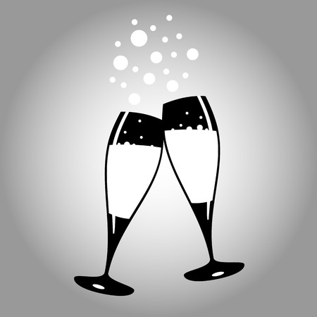two glasses of champagne black and white icon vector 10