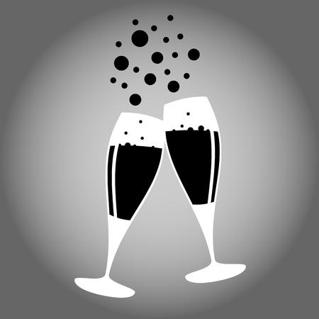 deux verres de champagne noir et blanc icône vecteur 10