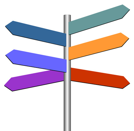 Colorful empty road sign. Illustration