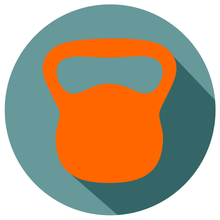 Kettle bell flat design icon Illustration