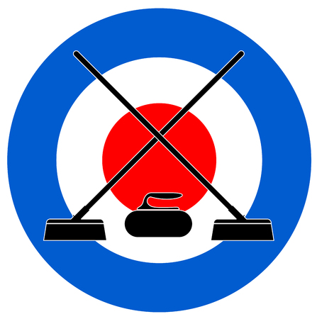 Brooms and stone for curling on Curling House vector