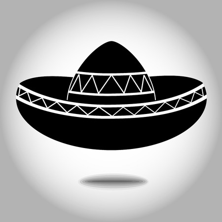 Vecteur d'icône design mexicain sombrero noir blanc.