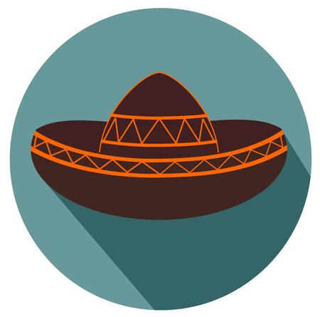 Mexican sombrero flat design icon vector. Illustration