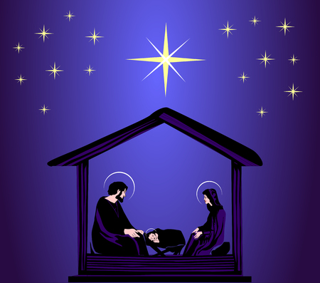 christmas christian nativity scene with baby jesus in the manger in silhouette stock vector
