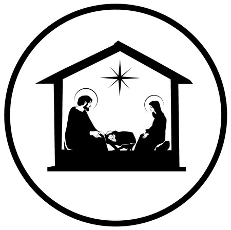Christmas Christian nativity scene with baby Jesus in the manger in silhouette, star of Bethlehem vector eps 10