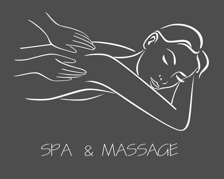 massage spa therapy line drawing vector eps 10 Illustration