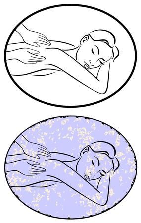 Massage spa ligne dessin vectoriel grunge. Illustration