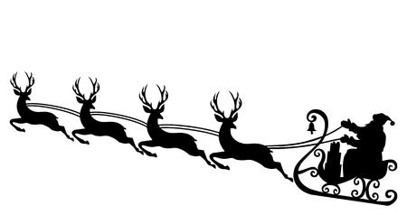 Santa and reindeer silhouette vector eps 10