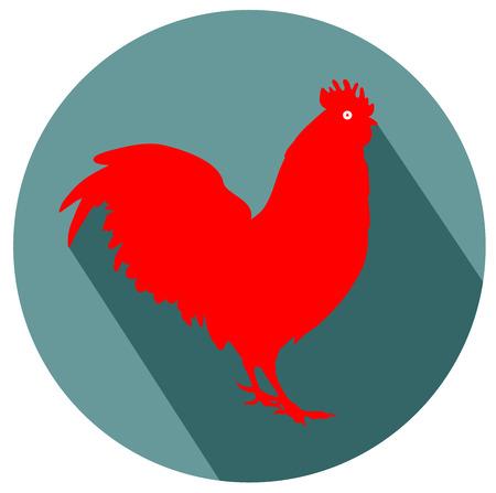 Rooster flat design icon. Illustration