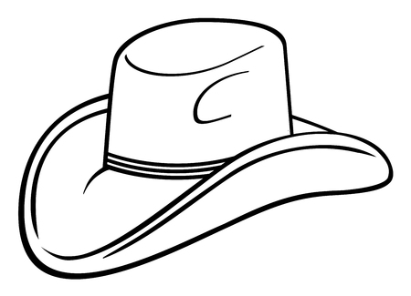 cowboy hat drawing Vector illustration. Illustration