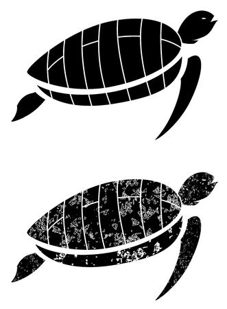 black grunge turtle on white background vector
