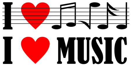 i love music lettering with music note design.