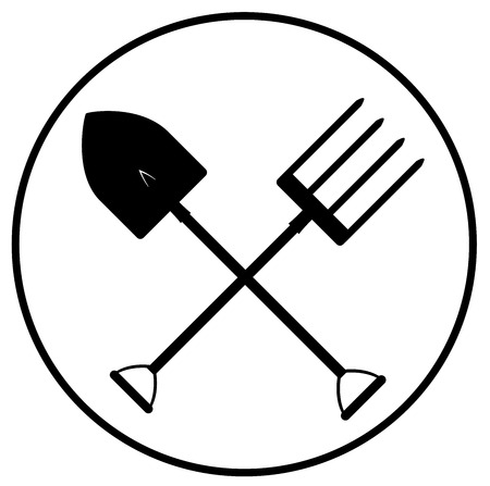 Black gardening tools icon vector.