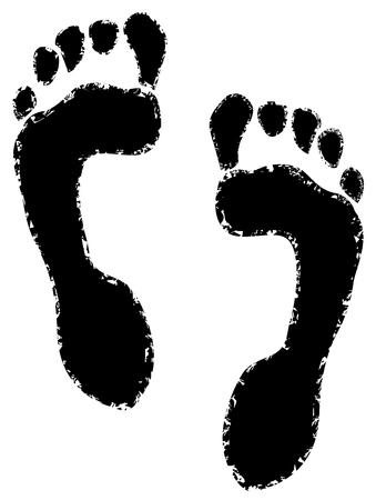Grunge Texture Of Human Footprint vector eps 10  イラスト・ベクター素材