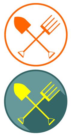 Gardening tools flat design icon Illustration